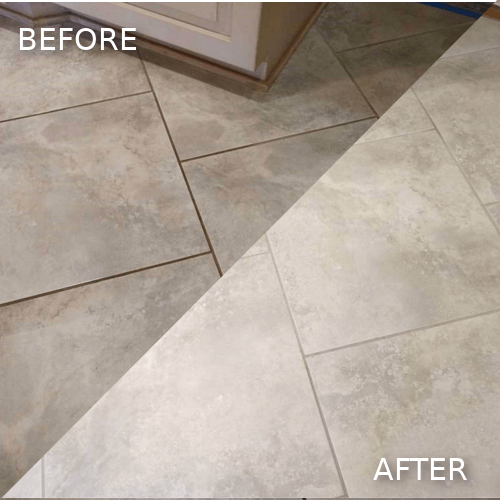 Grey f;loor clean grout
